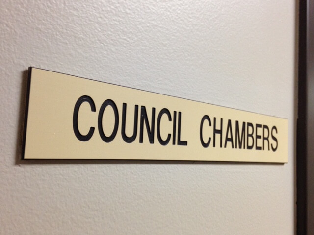 Council Chambers sign